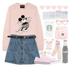 """Going to Disneyland"" by julietrebour ❤ liked on Polyvore featuring Markus Lupfer, Chicnova Fashion, Forever 21, Madewell, Converse, Polaroid and Holga"