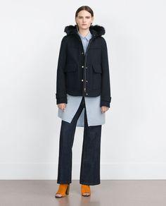 hood outerwear outerwear woman hood coats fur hood collection ss16 woman collection hood sale ss16 blue hood view
