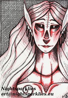 Original Drawing Fantasy Art Dark Morbid Strange by Nightsparklies, $30.00 #originalart #art #fantasy #fantasyart #darkart #dark #spooky #goth #mystical #scary #elf #darkelf #demon