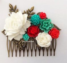 White Wedding Bridal Hair Accessories Teal Green Red Collage Flower Hair Comb Floral Headpiece Bridesmaids Vintage Style Bohemian Romantic