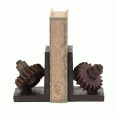 A very useful set of book ends in the unique theme of rusted gears are cast in industrial polystone. This rusted gear themed book end set is made with great detail in the gear teeth and faux rusted texture.