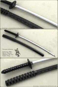 Kiba by peterku on deviantART Ninja Weapons, Sci Fi Weapons, Weapon Concept Art, Fantasy Weapons, Tactical Swords, Katana Swords, Samurai Swords, Cool Knives, Knives And Swords