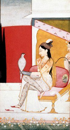 The Lady with the Hawk; Illustration to the Musical Mode Ragini Vasant. V&A Collection.