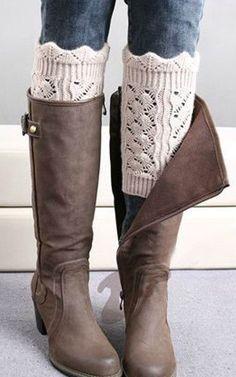 Crochet Boot Socks Leg Warmers in 3 color options