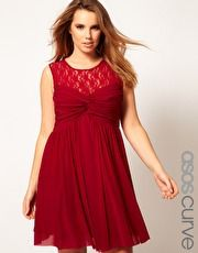 ASOS CURVE Skater Dress With Twist And Lace
