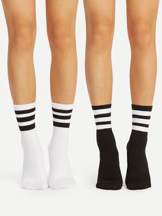 219c9da1ad0 Striped Detail Ankle Socks 2pairs Pink Outfits
