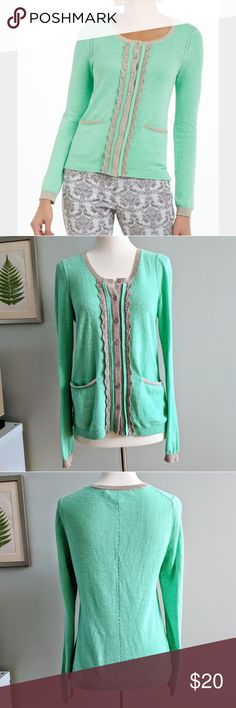 Anthropologie Glimmerade Cardigan Sweater Monogram for Anthro green cardigan sweater with gold metallic trim. Small front pockets. Good used condition. Minor pilling. Cotton/rayon/poly. Size Small. Anthropologie Sweaters Cardigans