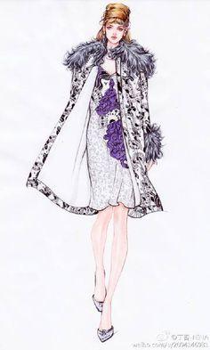 微博 Dress Design Sketches, Fashion Design Drawings, Fashion Sketches, Fashion Illustration Poses, Fashion Illustrations, Asian Fashion, Love Fashion, Fashion Artwork, Fashion Templates