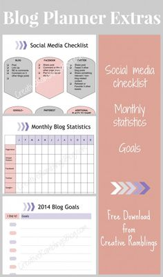Blog Planner Extras FREE download from Creative Ramblings.  Social media checklist, goal planning, and monthly statistic tacker. Organizing Your Home, Organising Tips, Organizing Ideas, Blog Planner, 2015 Planner, Tacker, Blogger Tips, Day Planners, Planner Organization