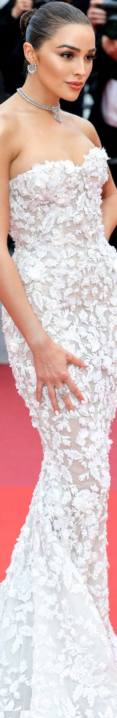Olivia Culpo @ Cannes, 2019 – Pin by LOLO. Cannes, Olivia Culpo Hair, Bridal Gowns, Wedding Gowns, White Lace, White Dress, Red Carpet Ready, Red Carpet Event, Romantic Weddings