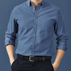 Blue non-iron twill Classic fit shirt