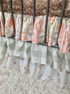 Ritzy Baby Designs, LLC - Blush Rustic Watercolor Floral, Grey Buffalo Check, and White Fawn Ruffled Crib Skirt, $165.00 (http://www.ritzybaby.com/blush-rustic-watercolor-floral-grey-buffalo-check-and-white-fawn-ruffled-crib-skirt/)