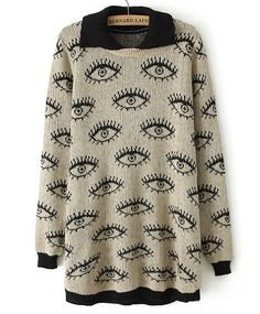 Khaki Long Sleeve Eyes Pattern Knit Sweater