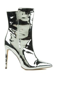494468befa0 Metallic Pointed Toe Booties in Rose Gold and Silver