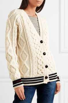 Saint Laurent | Striped cable-knit wool cardigan | NET-A-PORTER.COM