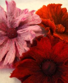 Felted flowers all together - Broochs | by creativebumblebee