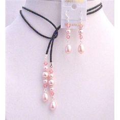 Rosaline Pearls Teardrop w/ Rose Crystals Lariat & Earrings Jewelry