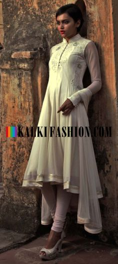 Buy Online from the link below. We ship worldwide (Free Shipping over US$100) http://www.kalkifashion.com/cream-anarkali-suit-with-thread-and-zari-work-by-gaurav-gupta.html Cream anarkali suit with thread and zari work By Gaurav Gupta