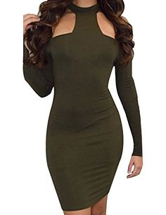 cool Allegrace Womens Long Sleeve Sexy Off Shoulder Bodycon Party Bandage Club Dresses