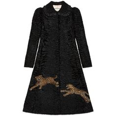 Gucci Fur Coat With Leopard Embroideries (€28.780) ❤ liked on Polyvore featuring outerwear, coats, leather & fur, leopard, ready to wear, women, light pink coat, leopard fur coat, long coat and puff sleeve coat