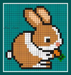 Pixel Pattern, Pattern Art, Pixel Art Lapin, Pixel Art Difficile, Knitting Charts, Baby Knitting, Cross Stitching, Cross Stitch Embroidery, Cross Stitch Designs