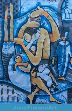 O azul do Céu não apaga a saudade  Pintura de João Timane. Artista plástico Moçambicano.   Fb: JoaoTimaneArt