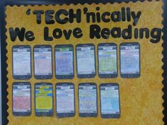 """""""TECHnically we love reading"""", bulletin board idea Cupcakes & Curriculum: Text Message Reading Response Reading Resources, Teaching Reading, Teaching Tools, Reading Strategies, Reading Comprehension, Teaching Ideas, Reading Classes, Comprehension Strategies, Classroom Displays"""