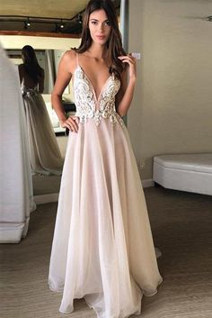 Discount Nice Backless Prom Dresses A-Line V-Neck Spaghetti Straps Backless Beads Appliques Organza Sleeveless Prom Dresses UK Cheap Prom Dresses Uk, Pink Wedding Dresses, Backless Prom Dresses, Tulle Prom Dress, Cheap Wedding Dress, Chiffon Dress, Formal Dresses, Ivory Wedding, Lace Chiffon
