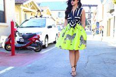 Lime Green Zebra full skirt