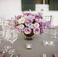 Pink Lavender and Blue Reception Arrangement in Copper Vase | photography by http://www.abryanphoto.com/