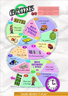 Game Board 7  Contents-Game Review booklet and theme flashcards.  Contains Everyday English, game review, grammar summary and worksheets.  Everyday English: What color is your bag, Ann?  What color is your bag, Ann?  It's purple. My bag is green.  Theme: Adjectives of Things big, small, clean, dirty, long, short, old, new.   Grammar: Adjectives of Things They are clean. They aren't dirty. Is the bag big or small?  Are the shoes new or old?  Is the pencil long? Are the bags old?