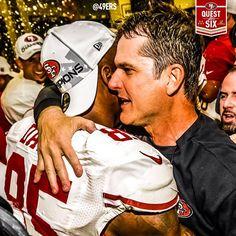 Vernon Davis and Jim Harbaugh celebrating. 49ers vs. Falcons for the NFC Championship on Jan 20th 2013.