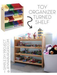 Toy Organizer turned Bookshelf: TIPS + unique EASY & STYLISH for how I organize my kids toys, www.jennaburger.com