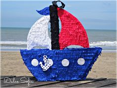 "Piñata ""Barco"" Sailor Birthday, Pirate Birthday, Baby First Birthday, Pirate Party, 1st Birthday Parties, How To Make Pinata, Nautical Party, Under The Sea Party, Ideas Para Fiestas"