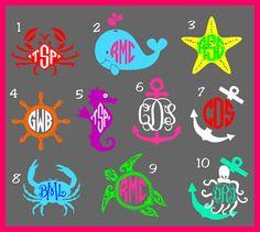 Nautical Monogram Decal by AHopSkipandaStitch on Etsy, $14.00