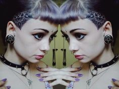 Hair and scalp tattoos can be realy feminine. Tattoo by Swirly Sinatra.