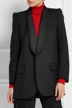 Black wool and mohair-blend Button fastening at front 55% wool, 45% mohair Dry clean
