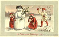Vintage postcard - Children and  Snowman