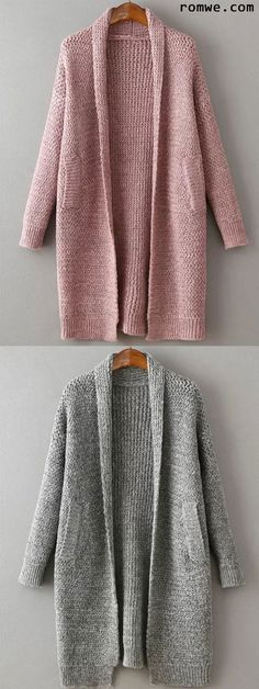 Grey Lapel Long Sleeve Pockets Sweater Coat | Free gifts and Gray