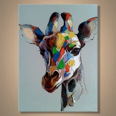 """ציור שמן -ג'ירפה צבעונית על רקע אפור. ציור שמן מדליק תוסס וצבעוני, מודרני ועכשווי.  גודל הציור: 50X60 ס""""מ רוחב - 50 ס""""מ גובה- 60 ס""""מ  במידה ובוחרים משלוח - הציור מגיע עם שליח עד הבית, עטוף בפצפצים וקרטון להגנה מושלמת. במידה ובחורים איסוף עצמי - אנחנו נשמח שתבואו אלינו לראשון לציון - תכניסו את קוד הקופון - איסוףעצמי (בשביל לא לשלם 50 שקל משלוח).  *אהבתם את הציור אבל לא יודעים איך הוא יראה אצלכם בבית? תשלחו לנו תמונה של הקיר למייל: art4u@art-4u.co.il ואנחנו נעשה לכם הדמיה של הציור ..."""