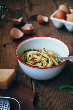 Fettucine Carbonara with Green Beans