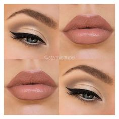 Gorgeous subtle gold smokey eye nude lips ❤ liked on Polyvore featuring beauty products, makeup, beauty, lips, eyes and b e a u t y
