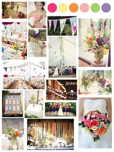 bright colours vintage floral bunting wedding