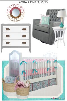 Aqua and Pink Nursery Design Board - Project Nursery