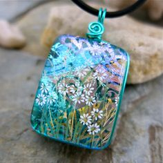 Absolutely love this lady's work!  Dichroic Pendant Stunning Green Flower Rainbow by UniqueDichroic, $24.50