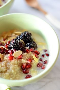 quinoa-berry breakfast bowl | Camille Styles