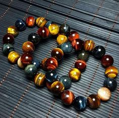 Tiger Eye Trinity Power Stones Bracelet - Project Yourself Tiger Eye Bracelet, Hand Bracelet, Stone Bracelet, Bangle Bracelets, Tiger Eye Jewelry, Gemstone Beads, Crystal Beads, Jewelry Gifts, Fine Jewelry