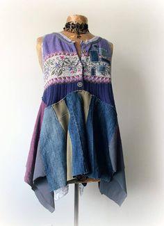 Country Tunic Purple Layer Shirt Women Lagenlook Plus Size