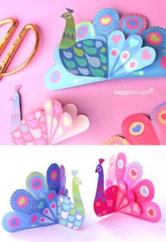 Easy Valentines Day printables- Activities, ideas + templates! Peacock Ornaments, Peacock Crafts, Paper Ornaments, Valentine's Day Printables, Printable Crafts, Diy Craft Projects, Fun Crafts, Paper Crafts, Cool Toys For Boys