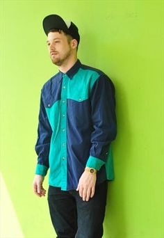 Early 90s quartered colour block shirt